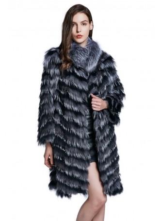 Knitted Silver Fox Fur Coat Jacket Women's