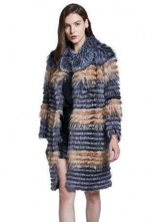 Knitted Silver Fox & Red Fox Fur Coat Jacket Women's