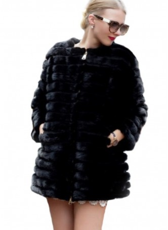Mink Fur Coat Jacket Black with Suede Trims Women's