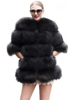 Fox Fur Black Jacket Coat with Women's