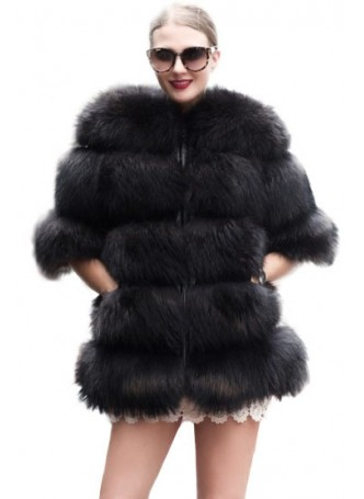 Fox Fur Black Jacket Coat with Women's