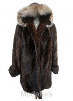 Mink Fur Coat Jacket Parka with Hood and Fox Fur Sz 18 XL Women's SALE