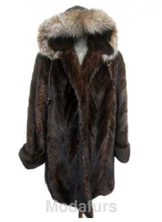 Mink Fur Coat Jacket Parka with Hood and Fox Fur Sz 18 XL Women SALE