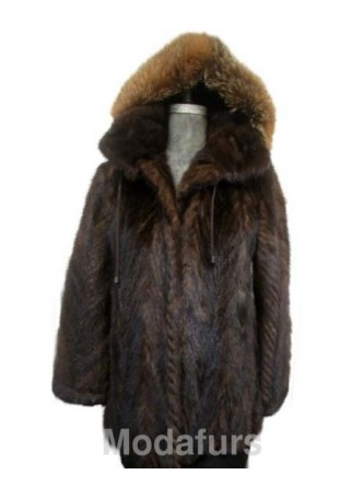 Mink Fur Coat Jacket Parka with Hood Fox Fur Size 8/10 S/M Women's