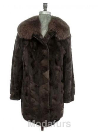 Mink Sheared Fur Coat Jacket Fox Fur Collar Sz 12/14 L Women's