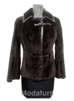 Beaver Sheared Fur Brown Coat Jacket with Leather Size S Women's