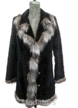 Beaver Sheared Fur Black Coat Jacket Silver Fox Fur Trims Women's