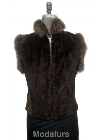 Beaver Sheared Fur Vest with Brown Fox Women's SALE