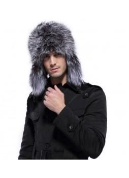 Men's Silver Fox Fur w/ Black Leather Hat Aviator Trooper
