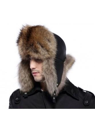 Men's Raccoon Fur w/ Black Leather Hat Aviator Trooper