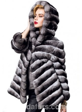 Chinchilla Fur Jacket Coat with Hood Women's