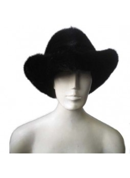 "Mink Fur Hat Natural Dark Ranch Black Cowboy Size 24"" Men's"