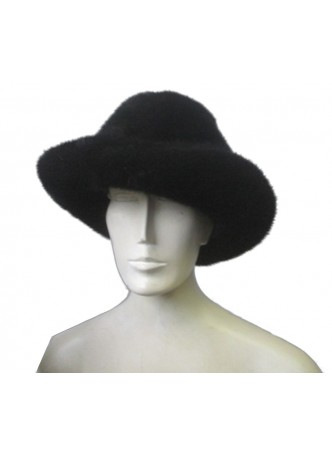 """Mink Fur Hat Natural Dark Ranch Black Cowboy Size 24"""" Men's"""