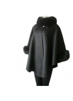 Cashmere & Wool w / Fox Fur Black Wrap Cape Poncho  Women's