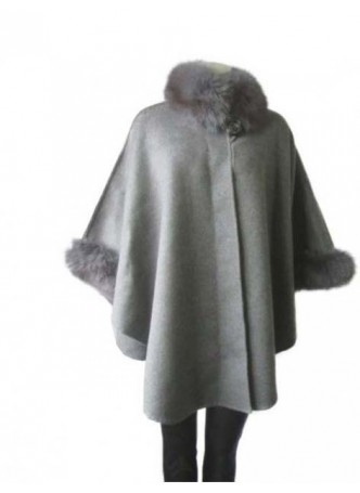Cashmere & Wool w / Fox Fur Gray Wrap Cape Poncho  Women's