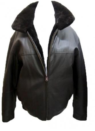 Men's Reversible Brown Leather Jacket Coat Sheared Beaver Fur