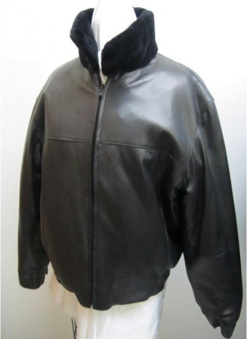 Men S Reversible Black Leather Jacket Coat Sheared Beaver Fur