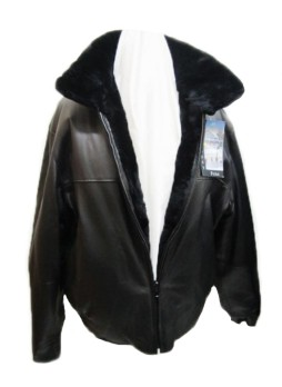 Men's Reversible Black Leather Jacket Coat Sheared Beaver Fur
