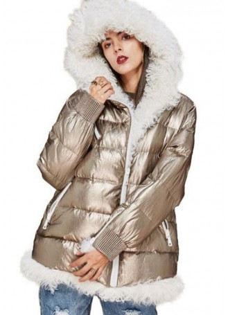 Metallic Golden Puffer Jacket Coat with Hood and Mongolian Lamb Fur Women's