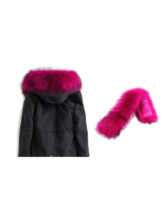 Raccoon Fur Dark Pink Hood Trim for Jacket and Coats DETACHABLE