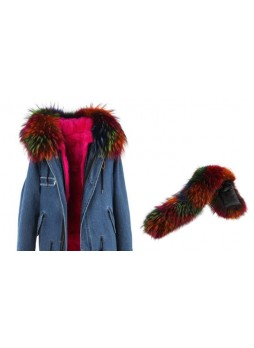 Raccoon Multi Color Fur Hood Trim For Coat and Jackets DETACHABLE
