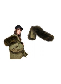 Raccoon Fur Olive Green Hood Trim For Coat and Jackets DETACHABLE