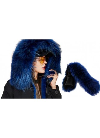 Raccoon Fur Hood Trim Royal Blue For Coat and Jackets DETACHABLE