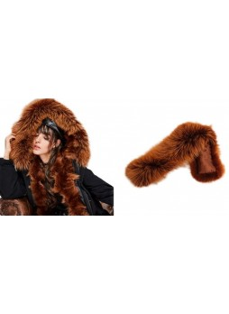 Fox Fur  Hood Trim For Coat and Jackets Brown DETACHABLE