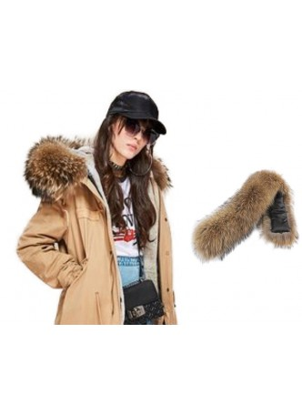 Raccoon  Fur Hood Trim For Coat and Jackets DETACHABLE
