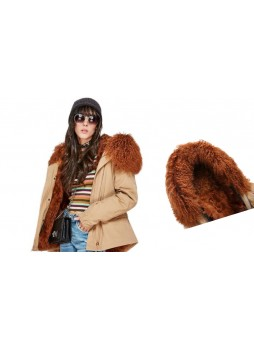 Brown Mongolian Lamb Fur Hood Trim For Coat and Jackets DETACHABLE