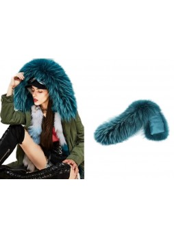 Raccoon Fur Hood Trim Teal Green Finn Raccoon Fur For Coat and Jackets DETACHABLE