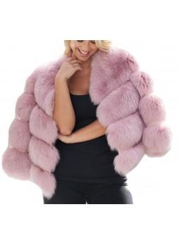 Fox Fur Jacket Coat Bolero Pink  Women's