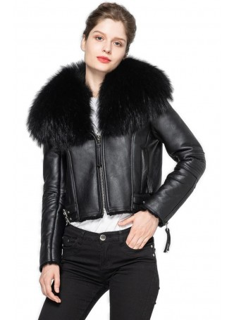 Shearling Sheepskin Lamb Fox Fur Jacket Coat Size S M L XL Women's Black