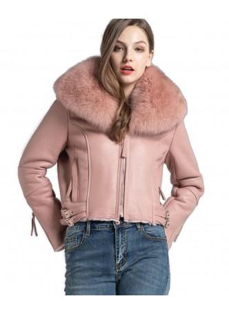 Shearling Sheepskin Lamb Fox Fur Jacket Coat Size S M L XL Women's Pink