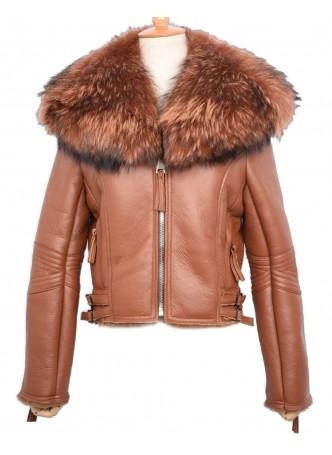 Shearling Sheepskin Lamb Fox Fur Jacket Coat Size S M L XL Women's Brown