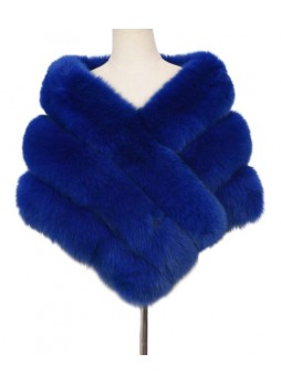 Fox Fur Cape Wrap Collar Stole Blue Women's WEDDING