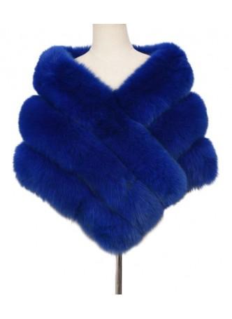 Fox Fur Cape Wrap Collar Stole Blue Women's WEDDING