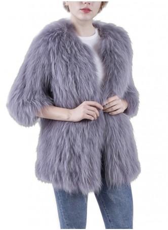Knitted Raccoon Fur Coat Jacket Women's Blue Gray