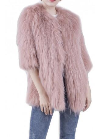 Knitted Raccoon Fur Coat Jacket Women's Pink
