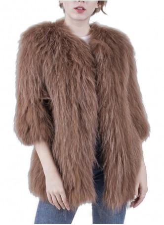 Knitted Raccoon Fur Coat Jacket Women's Cocoa Brown