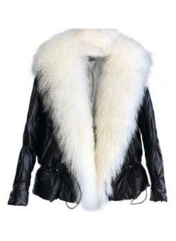 Metallic Black Down Puffer Jacket Coat Mongolian Lamb Fur Women Tibetan