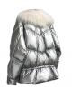 Metallic Silver Down Puffer Jacket Coat White Mongolian Lamb Fur Women Tibetan