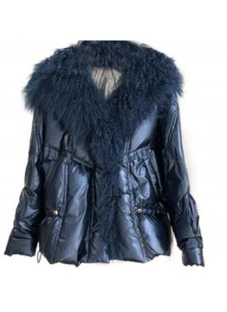 Metallic Blue Down Puffer Jacket Coat Mongolian Lamb Fur Women