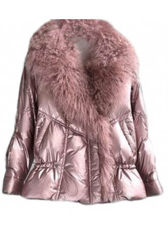 Metallic Pink Down Puffer Jacket Coat Mongolian Lamb Fur Women Tibetan