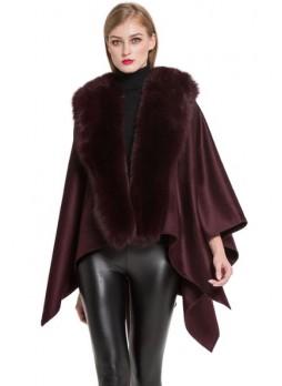 Women's Cashmere Cape Shawl Wrap with Fox Fur Burgundy SALE!