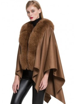 Cashmere Cape Shawl Wrap with Fox Fur Camel SALE!  Women's