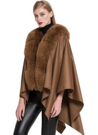 Cashmere Cape Shawl Wrap with Fox Fur Camel SALE!  Women's