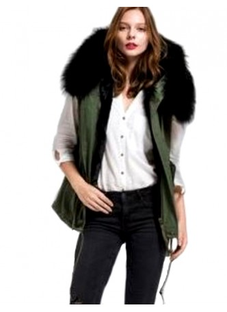 Military Style  Army Green Winter Vest with Hood & Black Raccoon Fur Trims Women's