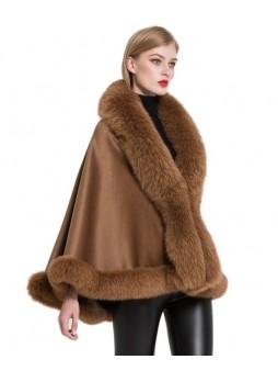 Women's Cashmere Cape Shawl Wrap with Fox Fur Camel SALE!