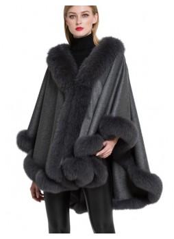 Cashmere Cape Shawl Wrap with Fox Fur Gray SALE!  Women's